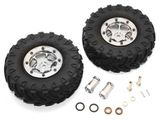 GPM Racing 1.9 Inch Rubber Tires With Aluminium 6 Poles Wheels& 23Mm Hex Adapters - 1Pr Set (For Scx10 II 90046 Only) Gun Metal for Axial SCX10 II