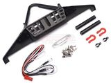 Team Raffee Co. Steel Stinger Front Bumper with Towing Hooks Winch Mount Shackles& LED Light Set Black for Axial SCX10 II