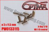 Pin for shaft replacement - 3 x 11,5mm (10) HB Racing central / Xray XB2 / XB4
