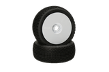 HB Gridlock V2 Mounted Tire (White/White Wheel/1:8 Buggy)