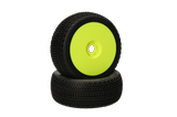 HB Gridlock V2 Mounted Tire (White/Yellow Wheel/1:8 Buggy)